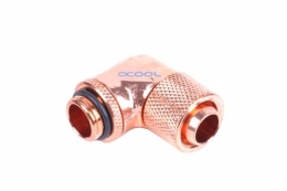 Фото Угловой адаптер Alphacool 13/10 compression fitting 90° revolvable G1/4 - Shiny Copper